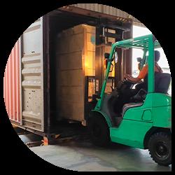 Forklift unloading reefer trailer