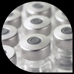 Row of vaccine vials