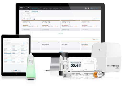 SmartSense system with sensors, probe, gateway, and cloud dashboard